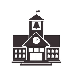Black silhouette high school structure with flag vector