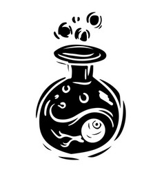 Bottle with poison black and white hand drawn vector