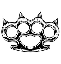 Brass knuckles black and white violence and vector