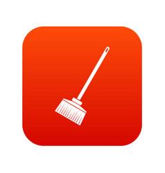 Broom icon digital red vector