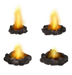 Campfire icons set realistic style vector
