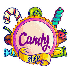 candy shop hand drawn logo design vector image