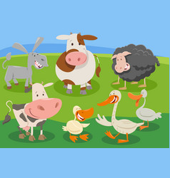 cartoon farm animal characters group vector image