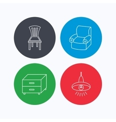 Ceiling lamp nightstand and armchair icons vector image