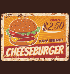 cheeseburger fast food rusty metal plate vector image