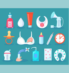Children care collection items vector