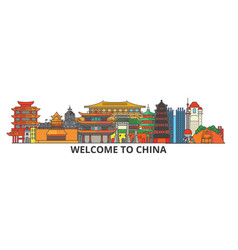 China outline skyline chinese flat thin line vector