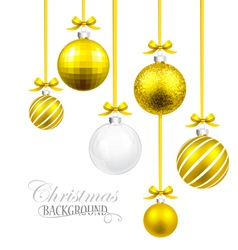 Christmas balls with yellow ribbon and bows vector image vector image