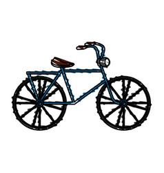 Color crayon stripe antique bicycle transport vector