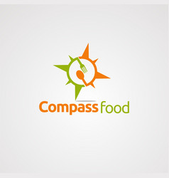 compass food logo icon element and template for vector image