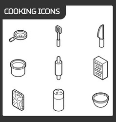 cooking outline isometric icons vector image