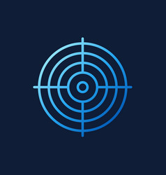 crosshair blue icon in outline style vector image