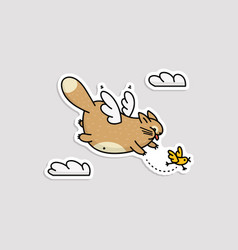 cute cartoon cat with wings flying in sky chasing vector image