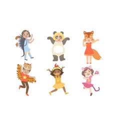 cute happy kids dressed animal costumes set vector image