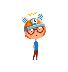 Cute kid with experimental equipment on his head vector