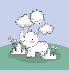 cute rhino with happy sun and clouds vector image