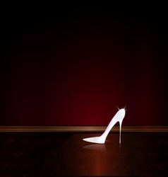 Dark room and the white shoe vector