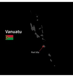Detailed map of Vanuatu and capital city Port Vila vector image