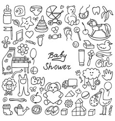 doodle baby shower vector image