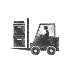 Drawing worker forklift boxes cargo figure vector