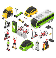 Eco transport isometric set vector