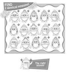 find 2 identical penguins black and white vector image