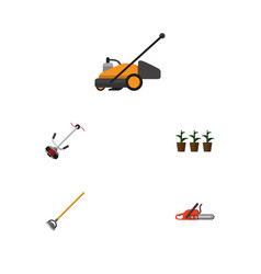 Flat icon dacha set of grass-cutter hacksaw lawn vector