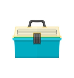 Flat style fishing tackle box vector