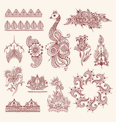 Floral mehendi flowers vintage pattern ornament vector