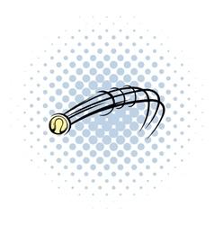 Flying baseball ball icon comics style vector