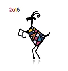 Funny goat sketch Symbol of 2015 new year vector