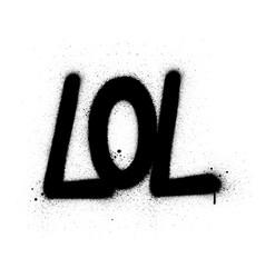 Graffiti lol abbreviation sprayed in black over vector