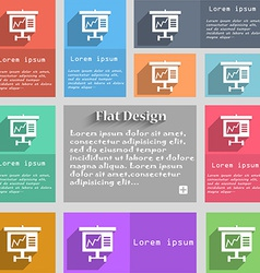 Graph icon sign Set of multicolored buttons Metro vector image