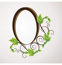 green flower label design vector image