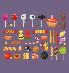 halloween candy sweet candies scary bat lollipop vector image