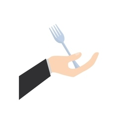 Hand holding fork food utensil vector