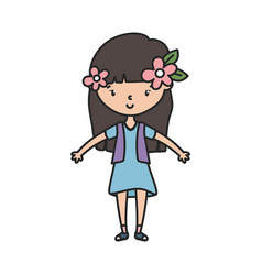 happy little girl cartoon character with flowers vector image