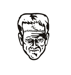 Head doctor victor frankensteins monster front vector