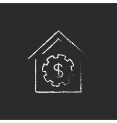 House with dollar symbol icon drawn in chalk vector image