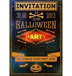 Invitation to halloween party with bats bones vector