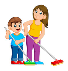 mother and son cleaning the floor vector image