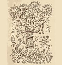 Mystic drawing with spiritual tree vector