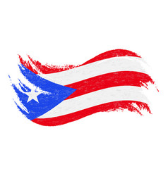 National flag of puerto rico designed using brush vector
