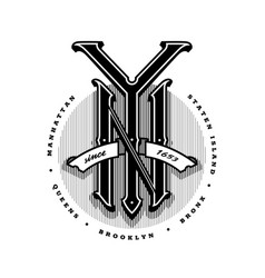 new york city emblem vintage style on a dark vector image