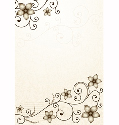 Old yellow paper with floral pattern vector image