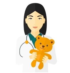 Pediatrician holding teddy bear vector image