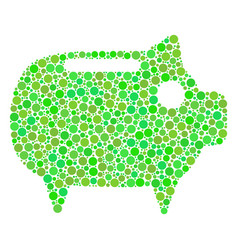 Piggy bank collage of dots vector
