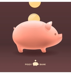 Piggy moneybox with golden coins vector
