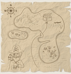 Pirate treasure map island on old paper vector