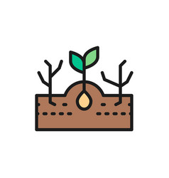Plant with weeds weed control flat color line vector